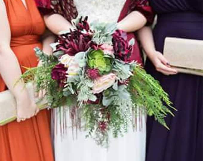 Wild tropical boho flowers wedding bouquet cascade burgundy peach greenery satin ribbon peony dahlia ferns eucalyptus long big