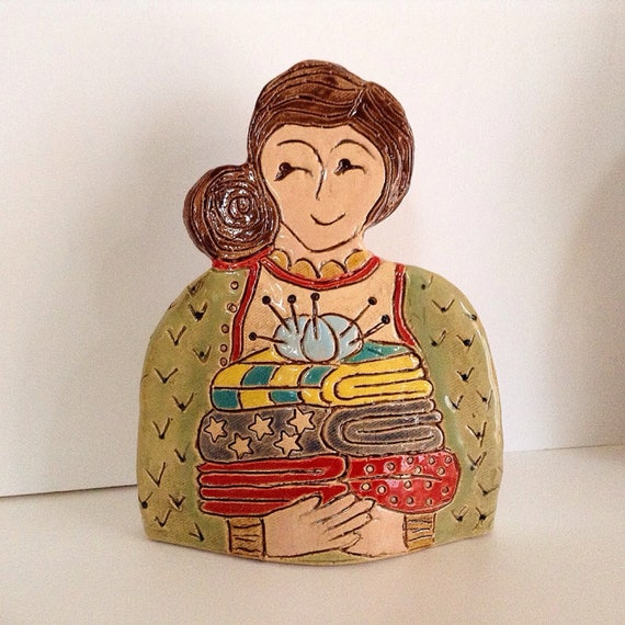 On PRE-ORDER.  Lady with Quilts.  Handmade ceramic bust, mini-bust, Colourful People, collectible, one of a kind