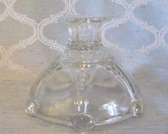 """Antique Anchor Hocking """"Oyster & Pearl"""" Clear Candlestick Holder, Antique Candle Holder, Anchor Hocking Candlestick"""