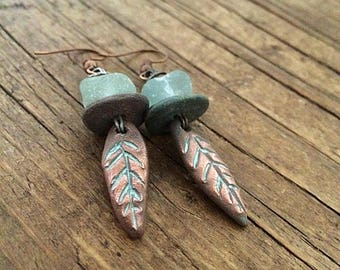 Primitive Sea Glass and Copper earrings. Rustic green copper leaf earrings.