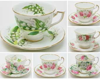 Collection of 6 Flower Vintage Tea Cups and Saucers Shades of Pinks and White Made in England Bridal Party Baby Shower Wedding Lot 3
