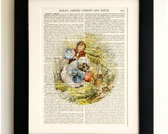 FRAMED ART PRINT on old antique book page - Beatrix Potter, The Tale of Mrs Tiggy-Winkle, Vintage Wall Art Print Encyclopaedia Dictionary