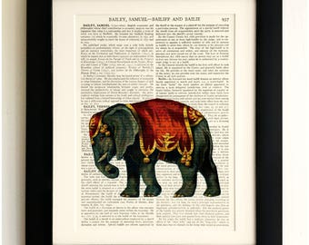 ART PRINT on old antique book page - Circus Elephant, Vintage Upcycled Wall Art Print, Encyclopaedia Dictionary Page, Fab Gift!