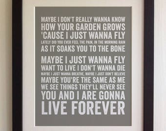 FRAMED Lyrics Print - Oasis, Live Forever - 20 Colours options, Black/White Frame, Wedding, Anniversary, Valentines, Fab Picture Gift