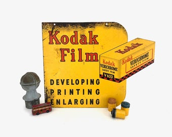 Kodak Film 2 Sided Metal Sign - Vintage Kodak Verichrome Film Sign - Prop - Display - Advertising - Collectible - Wall Decor - Photographer