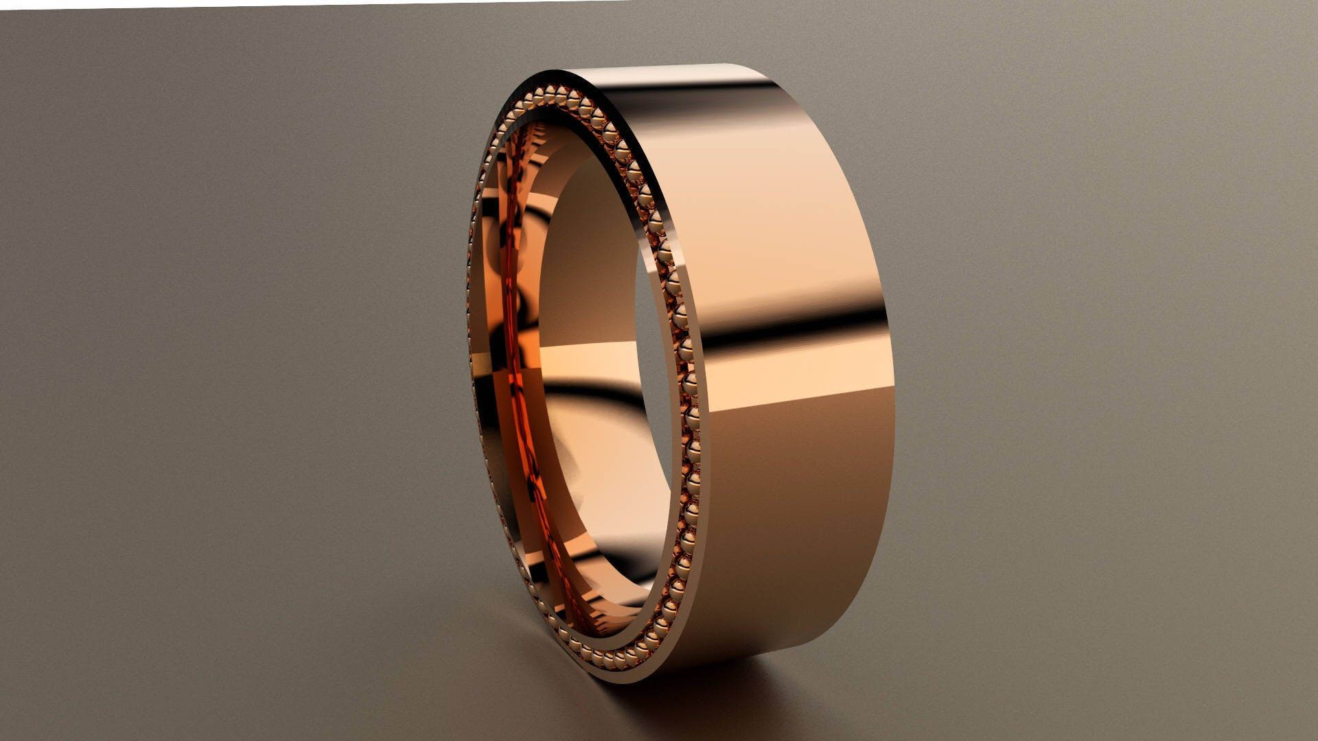 Rose Gold 8mm Mens Wedding Band Wide Recessed Beading Mens