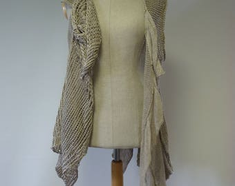 RESERVED FOR MAGGIE. Special price. Boho asymmetrical taupe knitted vest, L size. Made of pure linen.