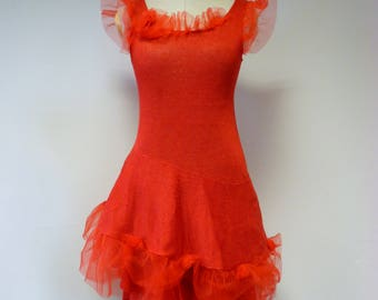 Exceptional red linen dress with tulle, M size.