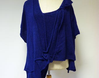 Special price. Boho handmade electric deep blue warm vest, XL size.
