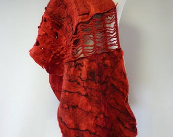Amazing red felted shawl, perfect for gift.