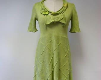 The hot price, light green linen dress, S size.