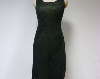 Special price. Military green linen dress, M size. Fashion one-of-a-kind.
