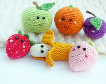 6 pieces - Crochet fruits Sensory toys, kids learning toys, baby decor, kids gift, play Food Set, decorations for the kitchen.