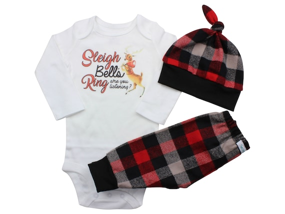 Reindeer Sleigh Bells Bodysuit Buffalo Plaid Pants Winter Baby Outfit Boy Red Black Buffalo Plaid Santa Sleigh Song Shirt Rudolph Boy