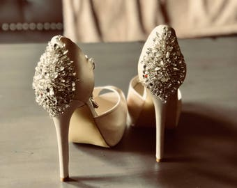 Custom pair high heel peep  toe bridal shoes -crystals shoes- wedding shoes