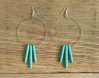 Turquoise spike hoop earrings