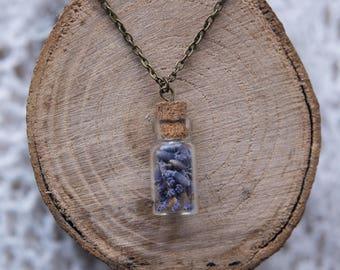 Lavender In A Bottle Necklace, Boho Pendant, Bronze Chain, Boho Jewellery,