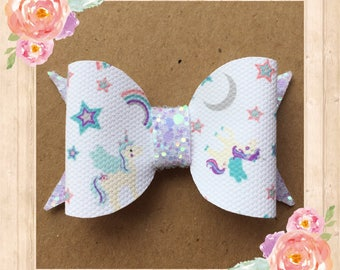 Unicorn hair bow, Unicorn bow, Hair bow, Glitter bow, Bows, Unicorn accessories, Cute hair bows, Handmade hair bows, Summer hair bows