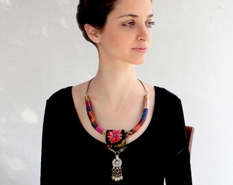 reserved Unique ethnic bib-necklace with beautiful tribal pendant of India Kuchi tribe with handmade Bedouin  – The Perfect Desert Look