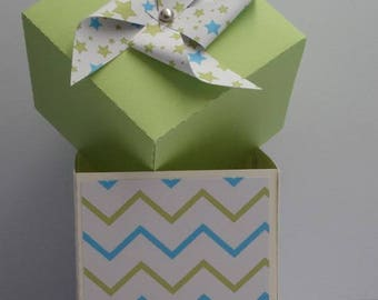 Box dragees chevron lime and turquoise