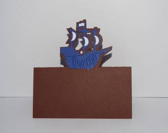 Brand pirate boat place card