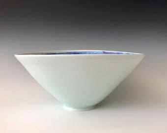Large modern handmade porcelain serving bowl décor  wheel thrown white with cobalt blue interior swirl pattern Haight Pottery Company