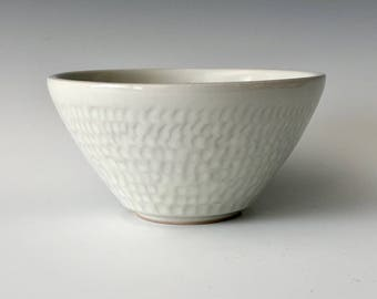 Modern handmade small pottery serving bowl dessert bowl nut bowl wheel thrown white with carved exterior design Haight Pottery Company