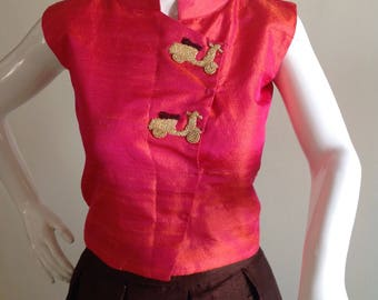 Sleeveless silk vest crop top with hand embroidery