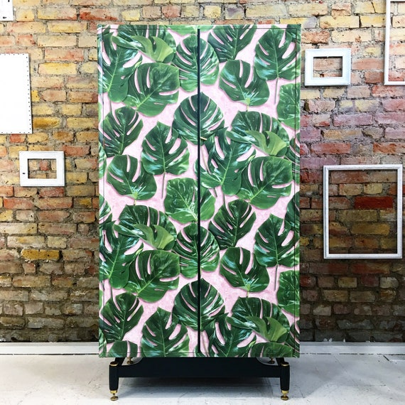 Upcycled vintage Gplan gold label wardrobe in Monstera cheese plant & Pink