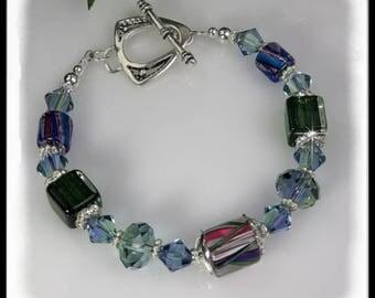 Lavender and green bracelet, David Christensen glass beads, Providence Lavender Swarovski Crystals, Green and blue jewelry, fancy bracelet