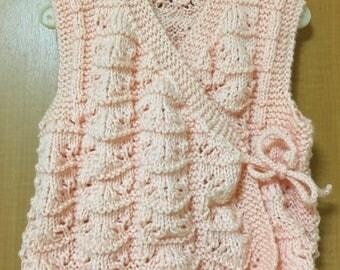 Handmade  baby girl knit vest