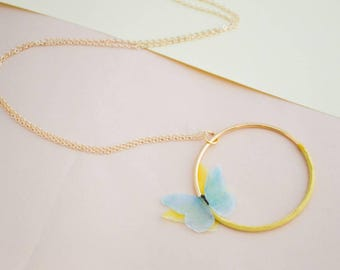 Gold plated long necklace, with handmade painted butterflies