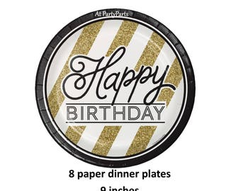 happy birthday plates, black and gold, white stripes, adult celebration, paper tableware, dinner plates, gold glitter, classic, disposable