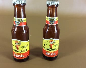 CLEARANCE Vintage Esslinger's beer bottle salt and pepper shakers