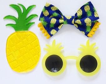 Pineapple Criss Cross Hair Bow // Fruit Hair Bow // Nylon Headband or Clips // SummerFun Hair Bow // Pom Pom Trim Hair Bow
