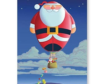 Santa Hot Air Balloon Christmas Card 18 Cards & 19 Envelopes - 20037