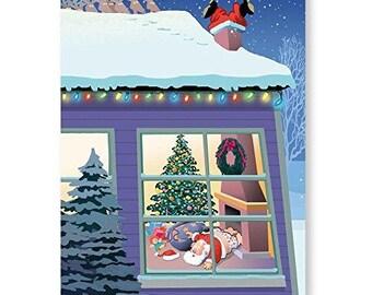 Santa Looses Pants Funny Christmas Card 18 Cards & Envelopes - 20039a