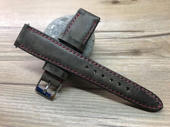 Leather watch band, Handmade Leather watch strap, dark brown, Leather Watch strap, nato strap, Vintage strap for Rolex - 19/20mm