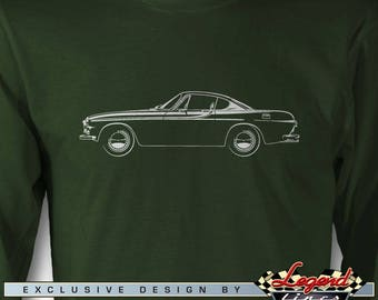 Volvo P1800 Coupe Long Sleeves T-Shirt - Lights of Art - Multiple colors available - Size: S - 3 XL - Great Swedish Classic Car Gift