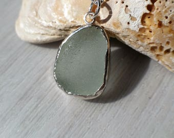 Sea Glass Pendant, Sterling Silver Necklace, Genuine English Sea Glass Pendant, Beach Glass Necklace, Handmade, Uk Seller.