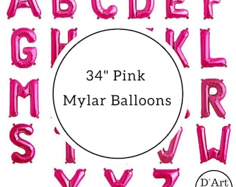 """34"""" Pink Foil/ Mylar Alphabet Letter Balloon - Jumbo/ Giant"""