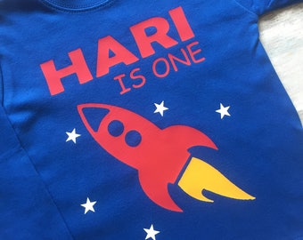 Personalised First Birthday Rocket T-shirt