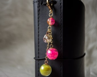 Pink & Yellow Globe Planner Charm   Planner Accessory   Keychain   Zipper Pull   Travelers Notebook   Purse Charm   Journal Charm