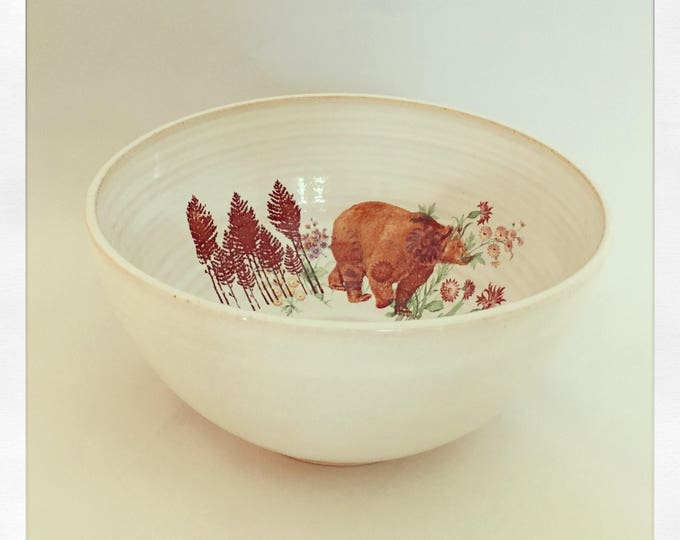 Featured listing image: A Walk in the Woods- Bear & Flowers Medium Bowl