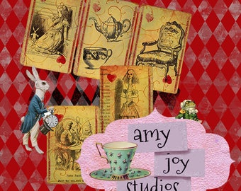 Alice in Wonderland Journal Cards Printable  Vintage Playing Cards  ClipArt  Alice Clip Art  alice party  tea party  decor  ephemera pack