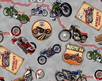 Blank Quilting - Fabric - Route 66 - Motorcycles - Gray background with all over motorcycles and map - Cotton - Sold by the yard