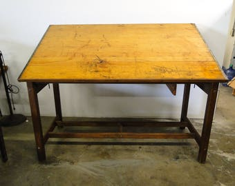 Perfect Vintage Industrial Hamilton Manufacturing Co. Adjustable Wood Drafting Table