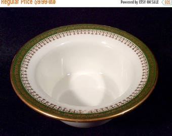 ON SALE Jean Pouyat NARBONNE Ramekin Custard Rimmed Cup Limoge France Gold Flowers on Green Band Gold Trim on Rim Dinnerware Excellent Condi