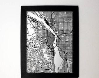 SUMMER SALE Portland Map, Laser Cut Map, Portland Oregon, Map of Portland, Personalized Gift, Portland Street Map, Portland Wall Art, Portla