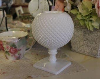 Vintage Milk Glass Ball Vase, Ivy Ball Vase, English Hobnail Milk Glass Vase, Rose Ball Vase, White Ball Vase, Milk Glass Wedding Vase